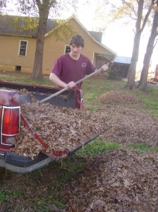 Connor working on some raised beds, late fall 2014